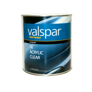 Image of a tin of Valspar Refinish 1K acrylic clear 3.78 Litre