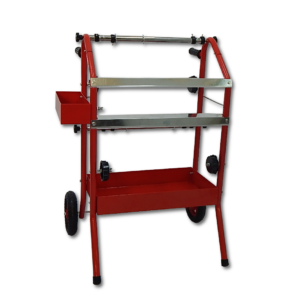 image of red masking machine with shelfs